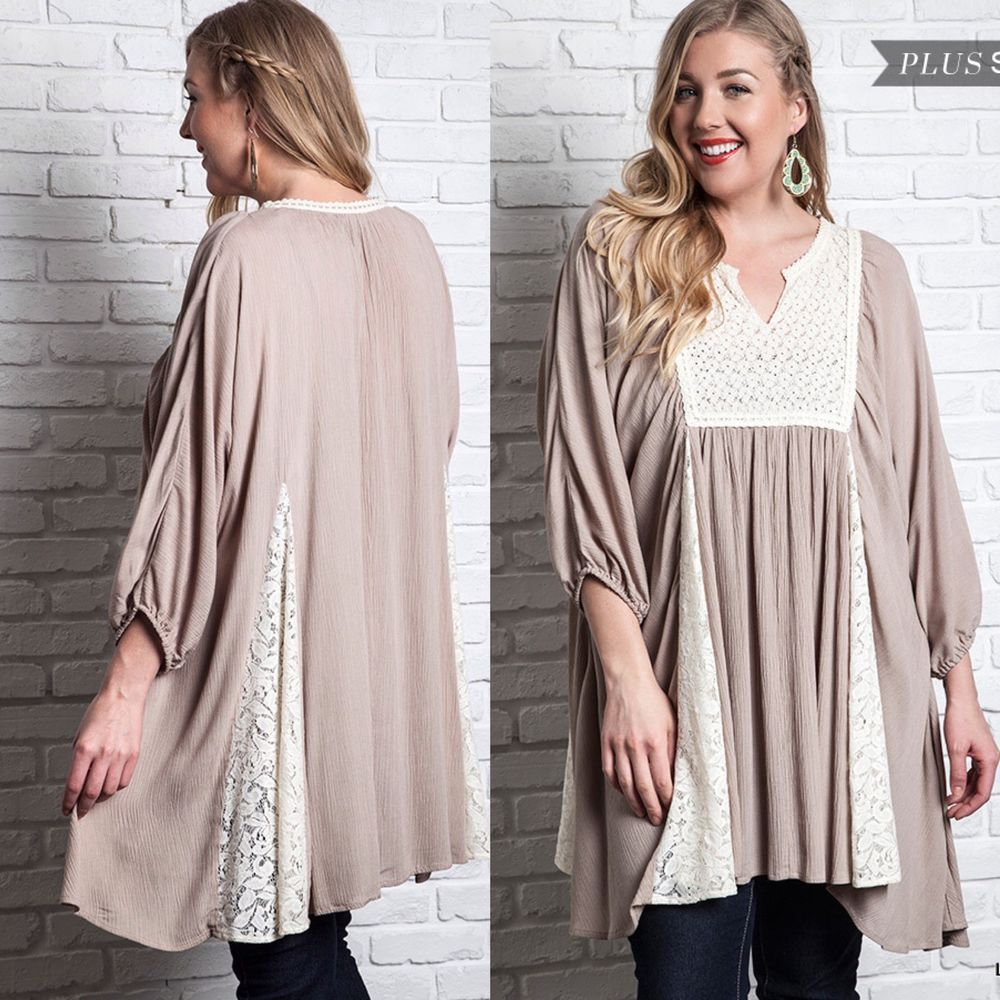 New Mocha UMGEE Lace Panel Peasant BabyDoll Trapeze Tunic Top Mini Dress  Plus Size #UMGEE
