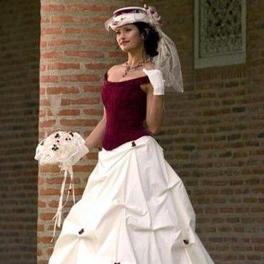 Robe de mariée bordeaux et champagne T46/