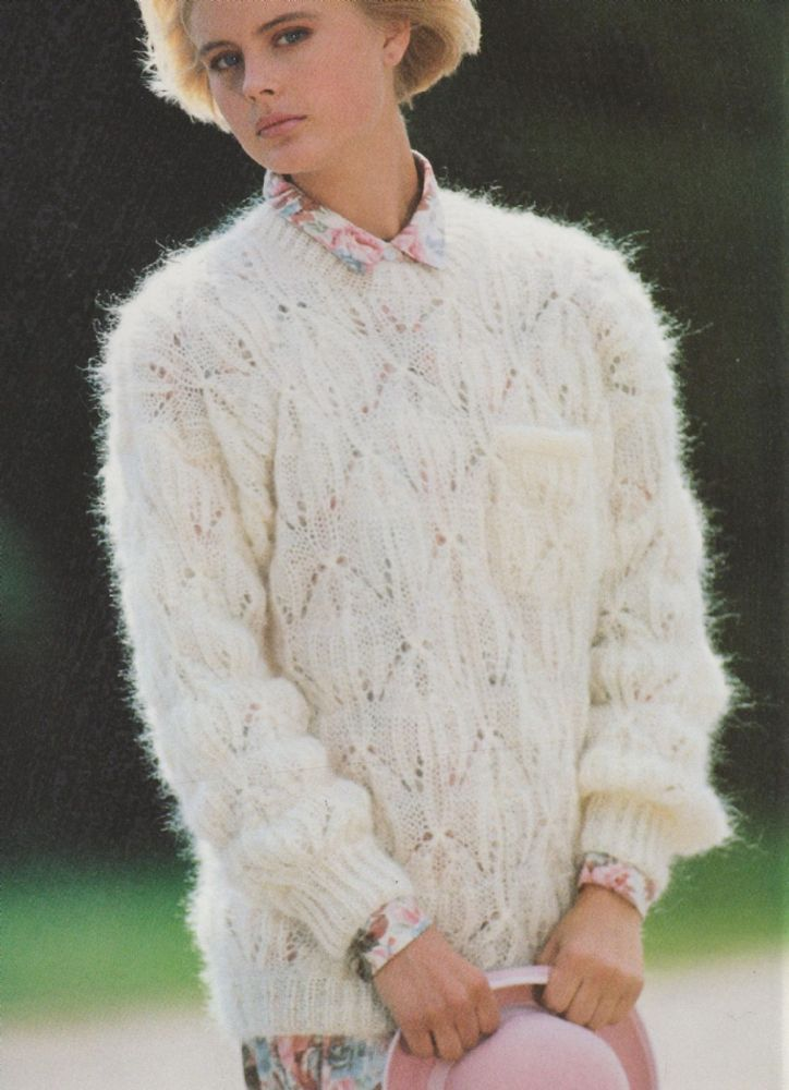 8fc874ab756c10 Knitting Pattern Ladies Woman s V Neck Mohair Sweater Jumper Cable size  34-40in by makenshare on Etsy
