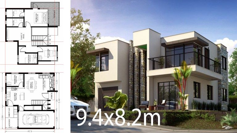 Small Home Design Plan 9 4x8 2m With 4 Bedrooms Home Plans Home Design Plan Small House Design Small House Design Plans