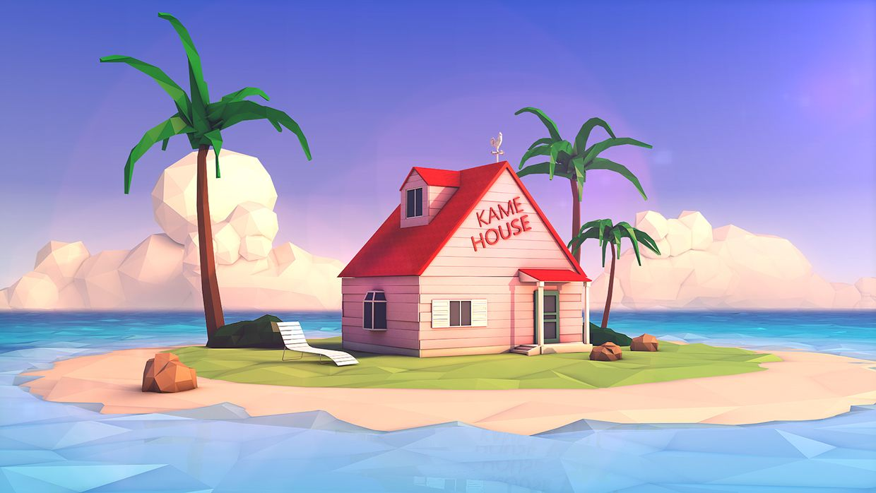 Kame House Low Poly On Behance Low Poly Environment Design