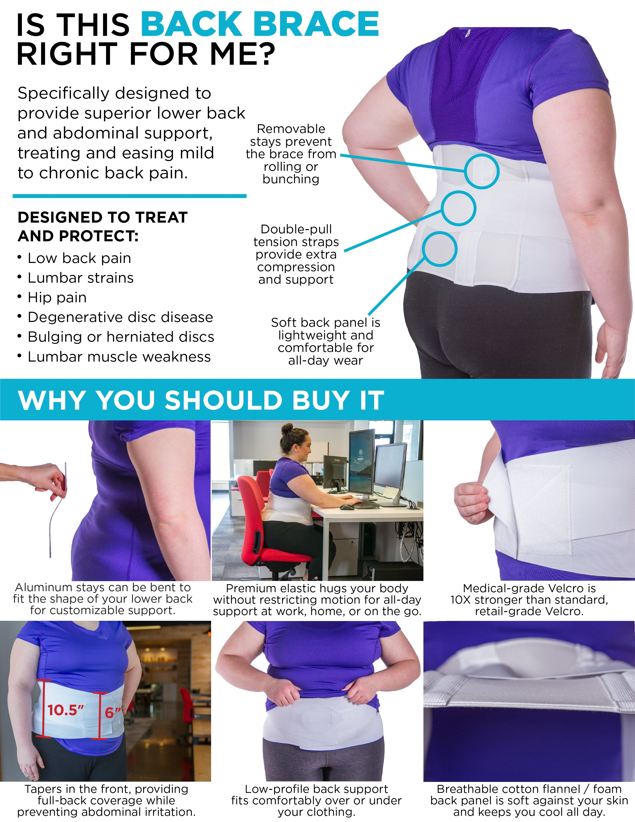 88cf3018cef Key features and benefits of this extra large bariatric lower back brace.