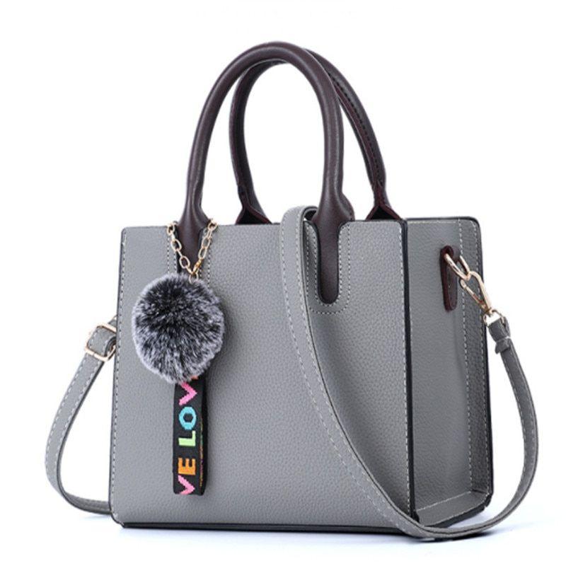 Women Handbag With Hairball PU Leather Totes Bags Women Shoulder Bag Ladies Bags  Bolsa Feminina