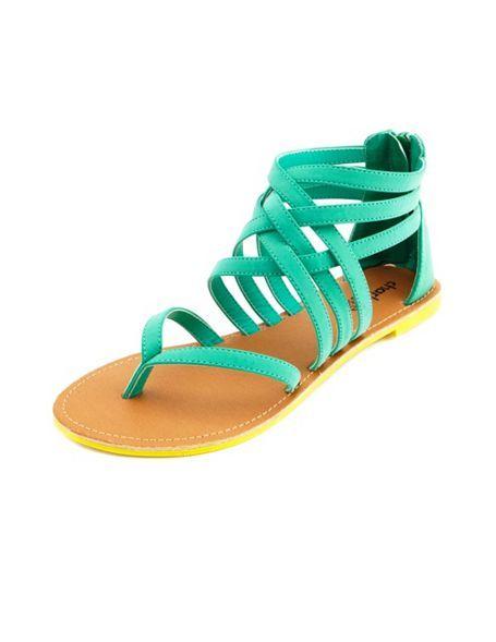 a86d14c093d Neon Sole Strappy Zip-Back Sandal  Charlotte Russe SUPER cute ...