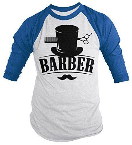 Shirts By Sarah Men S Barber Shirt Top Hat Vintage Hipster Mustache 3 4 Sleeve Shirts Vintage Hipster Hipster Mustache Great T Shirts