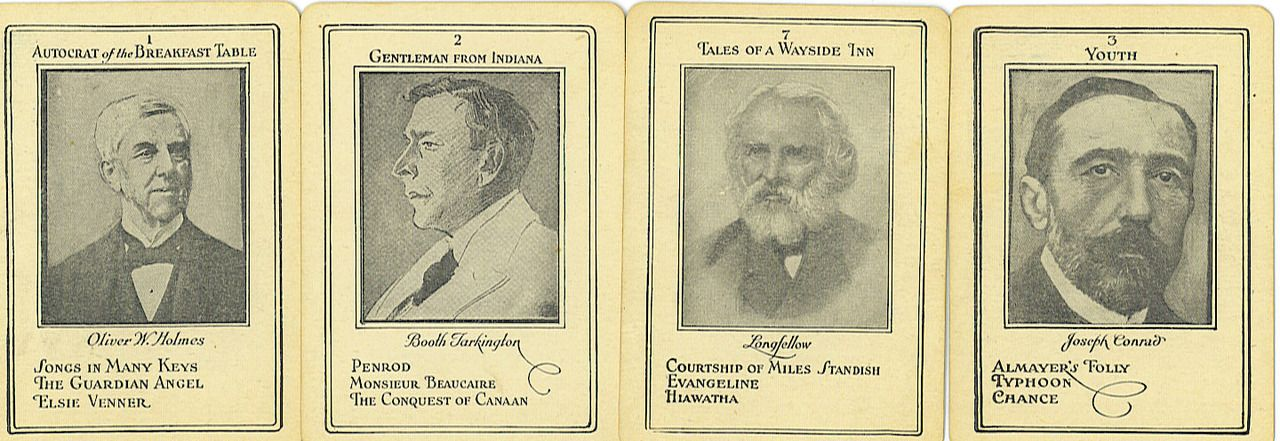 Playing cards from The Game of Authors. Similar to Go Fish, the object of the game was to gather all four cards for each author that was featured, including Dickens, Kipling, and Barrie.