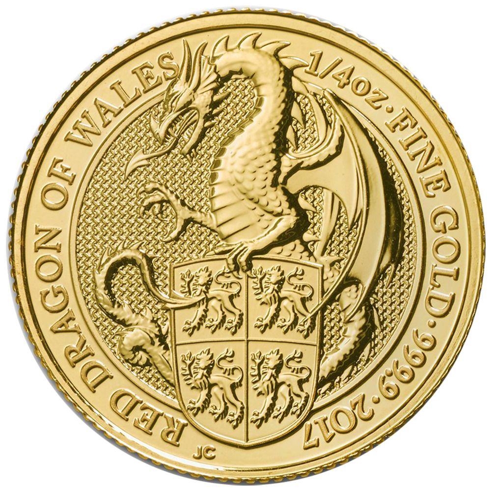2017 U K 25 Pound 1 4 Oz Gold Queen S Beast The Dragon Brilliant Uncirculated Gold Bullion Coins Royal Mint Coins Silver Bullion Coins