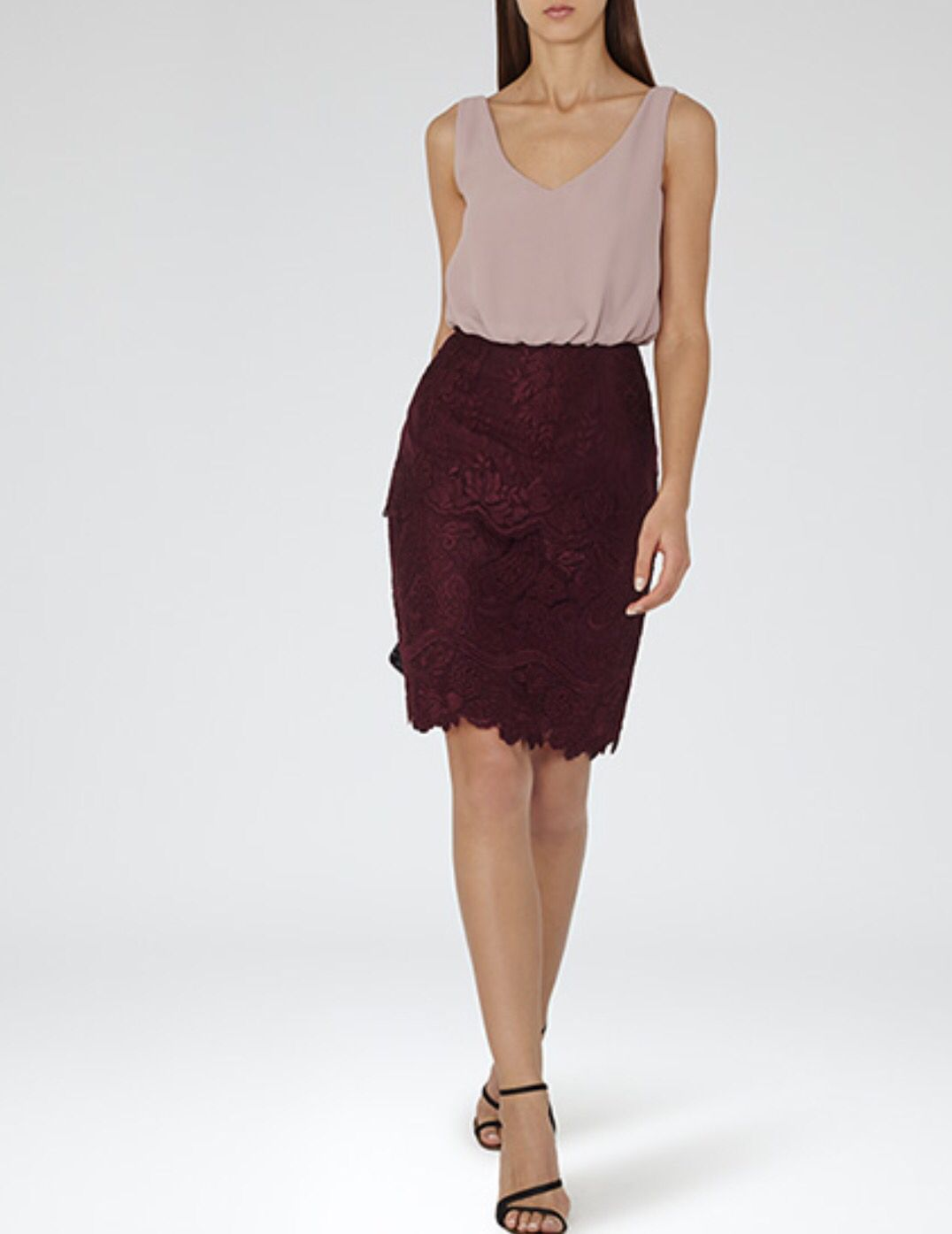 ae000d719f Reiss cream and burgundy lace cocktail dress | Effortlessly Chic ...