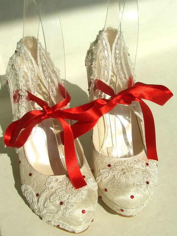 83996fed91e White Lace Wedding Shoes with Red Ribbons and Rhinestones | Wedding ...