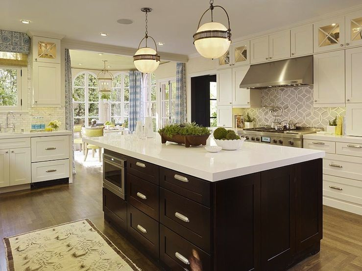 Kitchen Island Quartz gorgeous two-tone white & espresso kitchen design with creamy