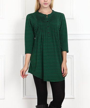 Loving this Green & Black Stripe Notch Neck Tunic on #zulily! #zulilyfinds