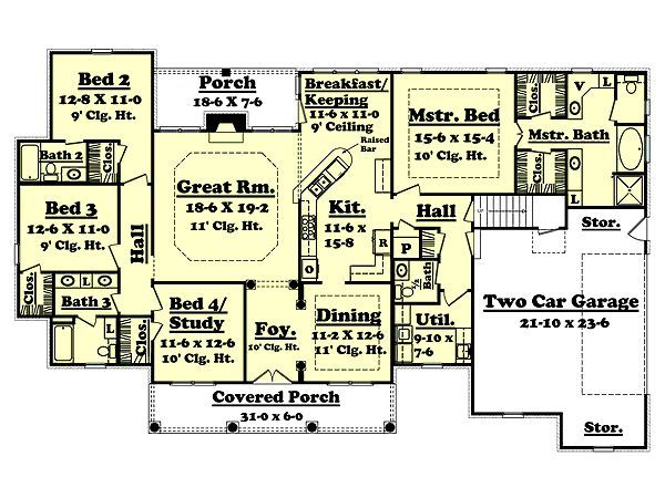 colonial style house plan 4 beds 3 50 baths 2500 sq ft plan 430