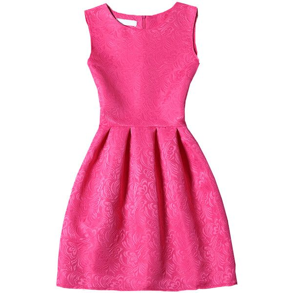 Hot Pink Crew Neck Sleeveless Slim Flare Dress ($5.85) ❤ liked on Polyvore featuring dresses, shein, crew dresses, pink sleeveless dress, no sleeve dress, flared dress and slim fitting dresses