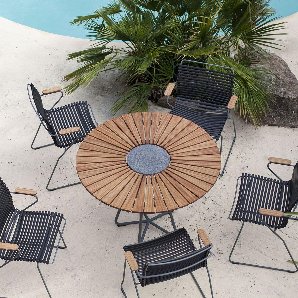 Table de jardin Circle avec plateau bambou et pierre de granite gris ...