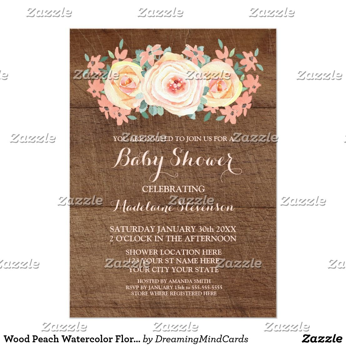 Wood Peach Watercolor Floral Baby Shower Card Personalized baby ...