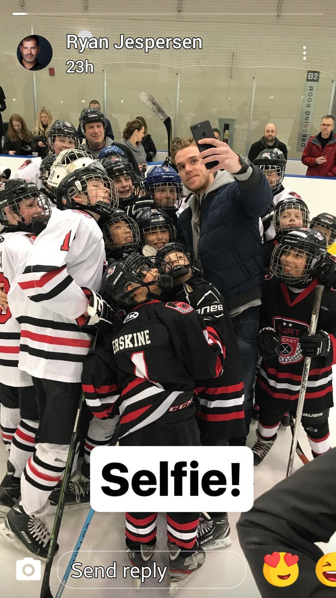 Connor Making A Local Hockey Team S Day March 2018 Edmonton Oilers Hockey Mcdavid Hockey Teams