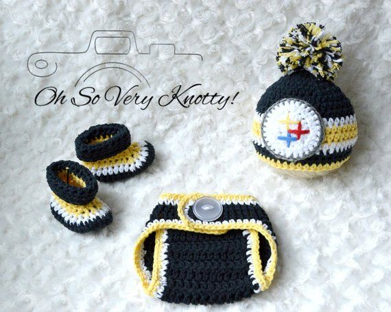 Handmade - Pittsburgh Steelers Inspired Football Baby Crochet pom-pom hat c6170c284