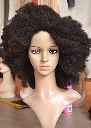 K ryssma Natural 100% Indian Remy Afro Wigs for Black Women Kinky Human Hair 157afa24b