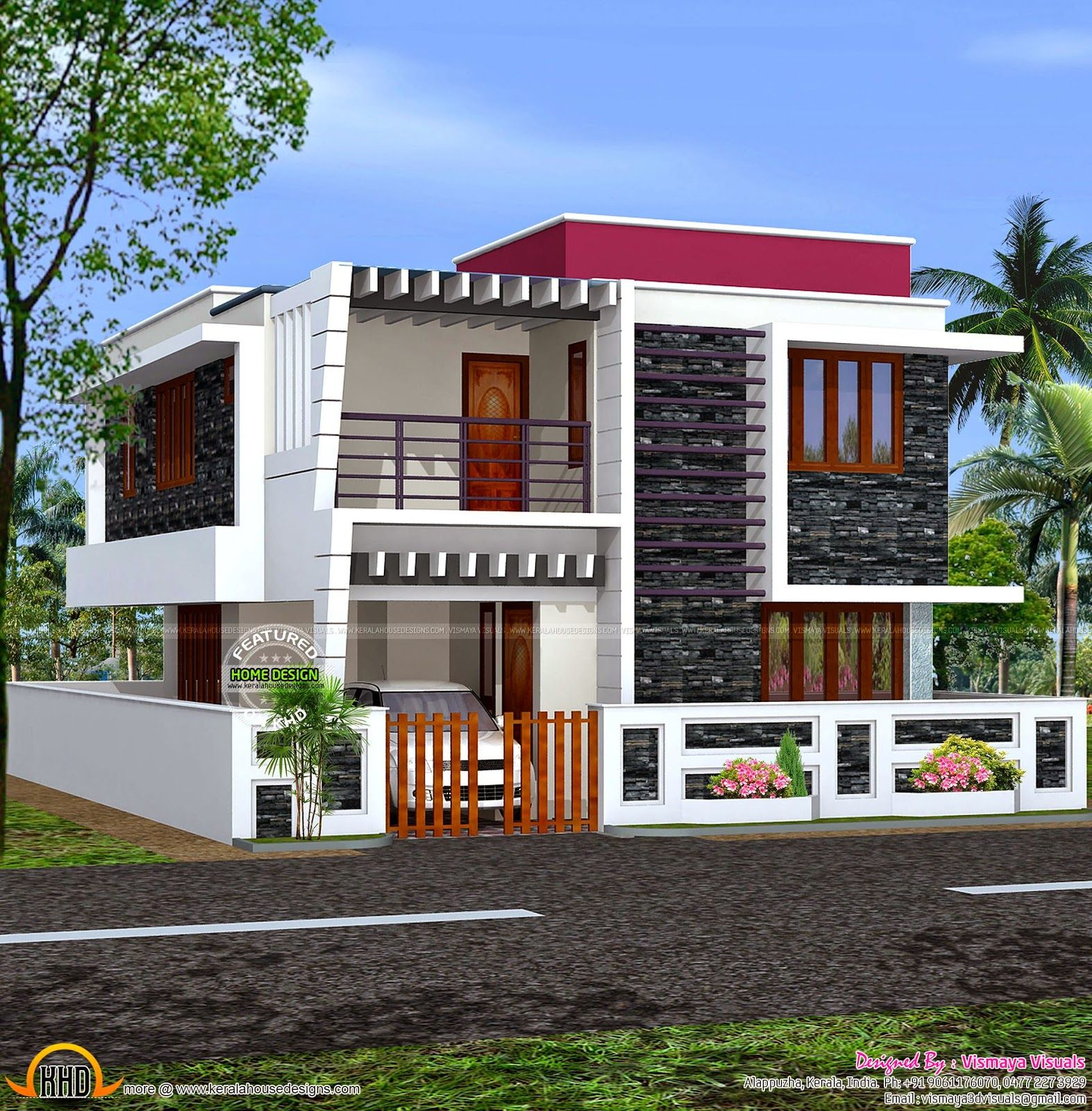 house portico designs kerala design  Elevation in 2019  House outside design Cool house