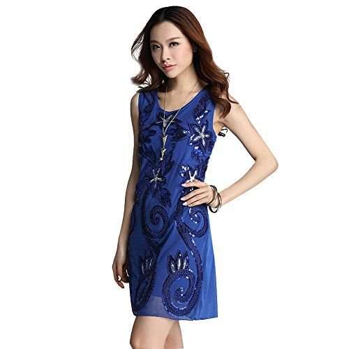 1920s Vintage Dress Floral Blue Sequin Party Gatsby Dress Women Add it to your wishlist at yourwishfromme.com