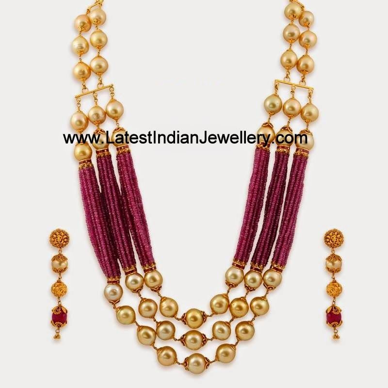 Pearl Ruby Beads Gold Statement Jewellery Latest Indian
