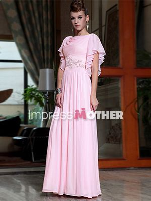 Pink Long A-Line Chiffon Beaded Short Sleeve Mother of Bride Dress - US$ 201.99 - Style M0655 - Impress Mother