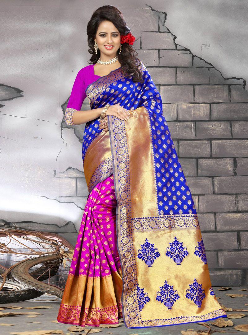 Blue banarasi silk half n half saree banarasi silk saree