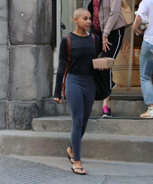 Celebritiesofcolor Alexandra Shipp Out In Montreal Natural Hair Woman Bald Girl Bald Head Girl
