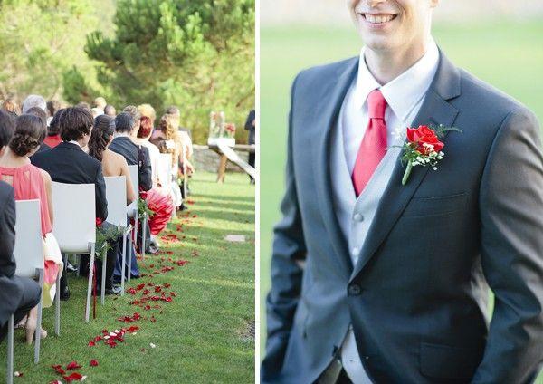 Corbata Y Prendido Rojo Trajes De Novio Boda De Rosas