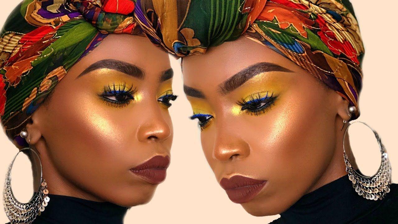 FALL Inspired Yellow Makeup Tutorial for Dark Skin WOC