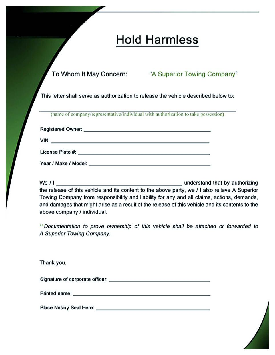 Hold Harmless Agreement Making Hold Harmless Agreement Template