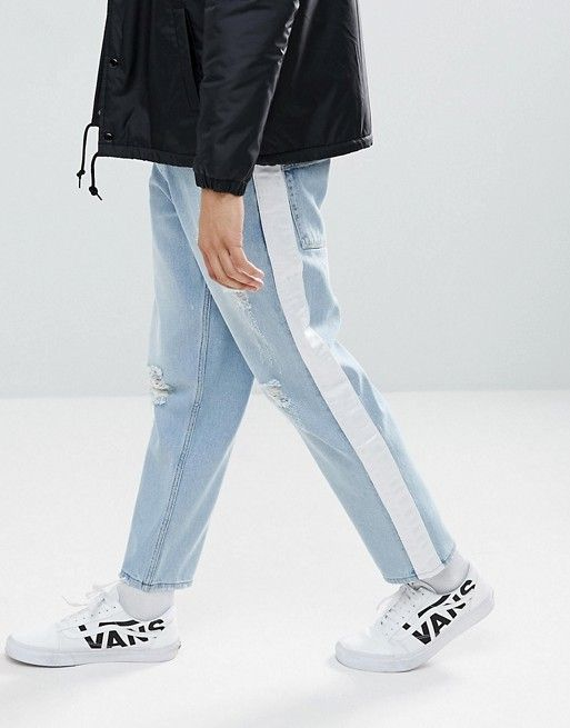 Asos Skater Jeans In Light Wash With Abrasions And Side Stripe Mens Fashion Summer Mens Jeans Jean Fashion Trends