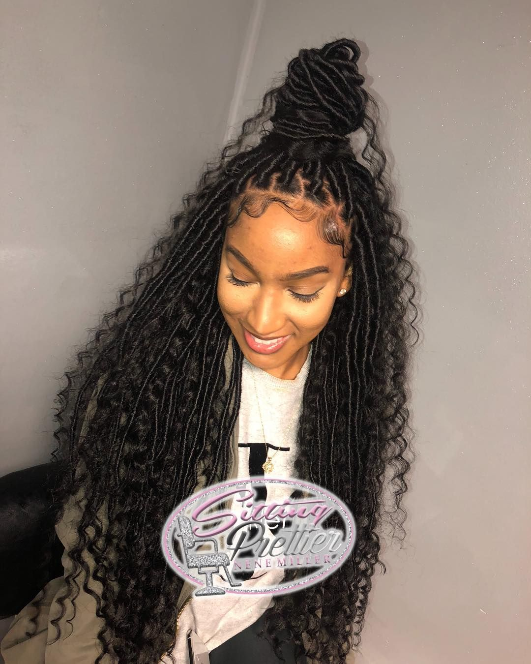 """Goddess Loc Specialist on Instagram: """"I have some beautiful clients!! She's wearing medium size goddess locs extended WAIST length with using synthetic hair. PRICING LOCATED IN…"""" #goddessbraids"""