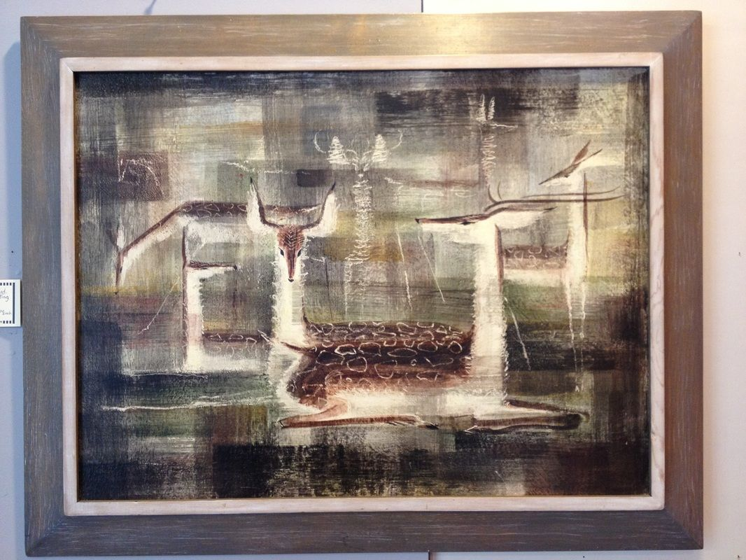 c.1954 Deer Wild Life Painting By Don Galindo 29 x 23 including ...