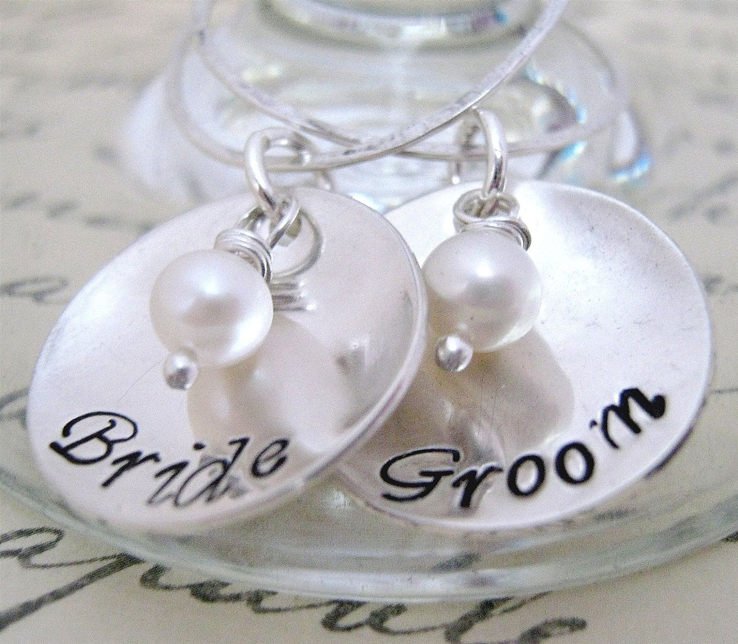 Bride and Groom Drink Tags - Wine Glass Charms - hand stamped wine ...