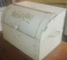 Large Antique Tin 1800 S Bread Cake Box Cabinet With Roll Up Door Cookie Jars Vintage Vintage Bread Boxes Roll Up Doors