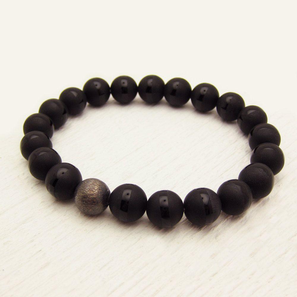 Black Onyx Men's Bracelet with Oxidized Sterling Silver by byjodi, $55.00