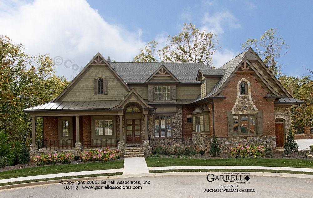 Bellevue house plan 06112 front elevation craftsman for Brick elevation design