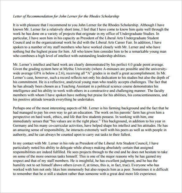 Letter of Recommendation for Scholarship u2013 8+ Free Word, Excel - letters of recommendation for scholarship