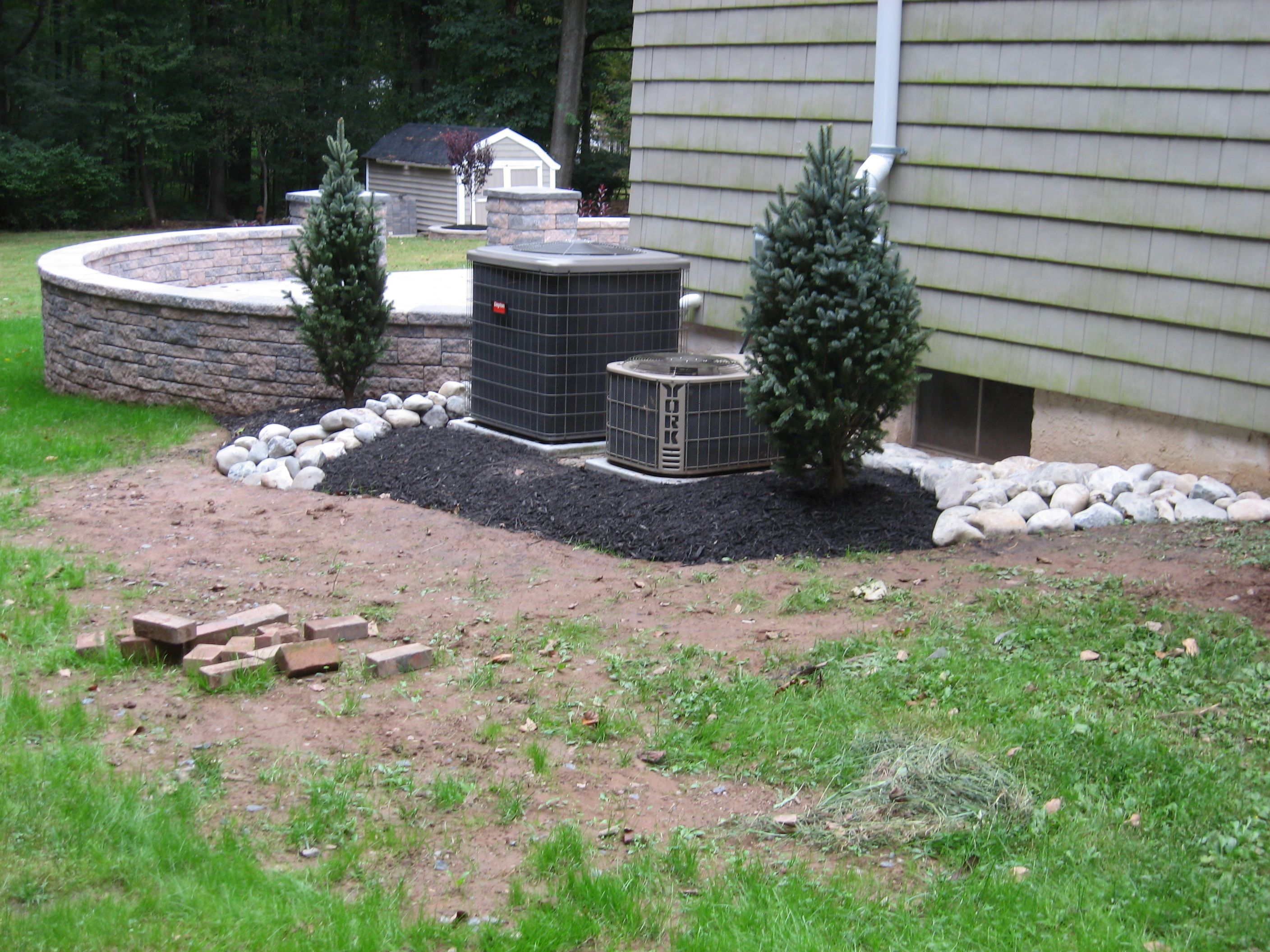 Landscaping around patio & air conditioners The Patio