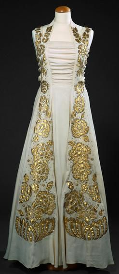 47c1fcfa6c5c0 1930s white Evening dress with gold brocade floral accents ...