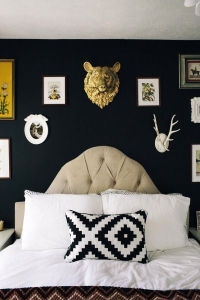 Dark and mysterious; http://www.stylemepretty.com/living/2014/02/24/10-stunning-bedrooms/