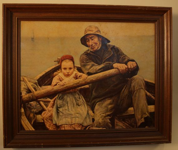 Fisherman On Sale Vintage Framed Print Of 1881 Oil Painting The