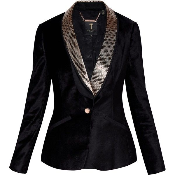 Ted Baker Kairaa Embellished Velvet Suit Jacket ($210) ❤ liked on Polyvore  featuring outerwear