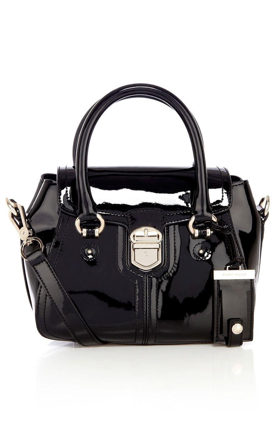 Patent mini box bag | Luxury Women's accessories | Karen Millen