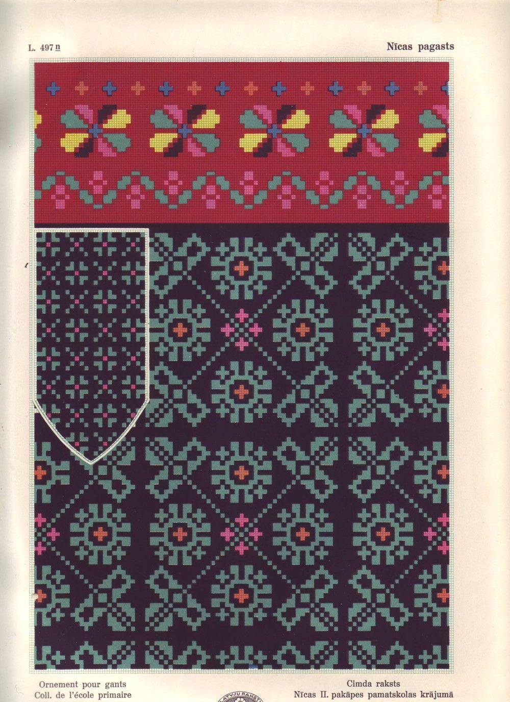 вязание варежки латышские узоры