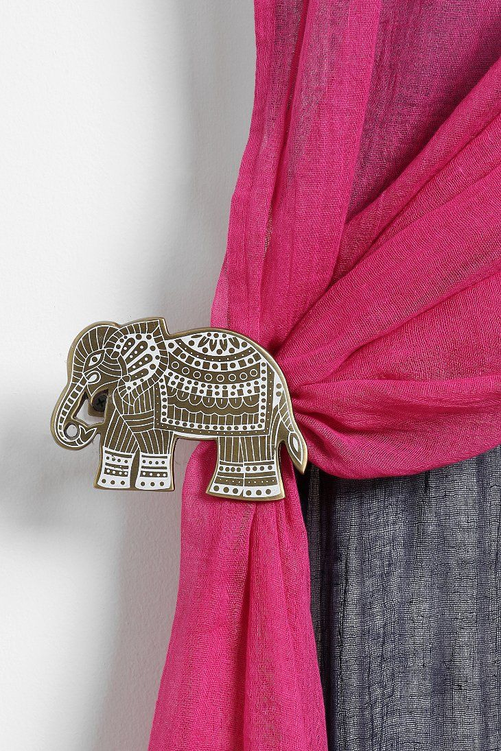 Etched Elephant Curtain Tie Back Elephant Curtains Curtain Tie