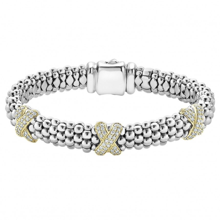 Diamond lux x rope bracelet caviar natural stones and k gold