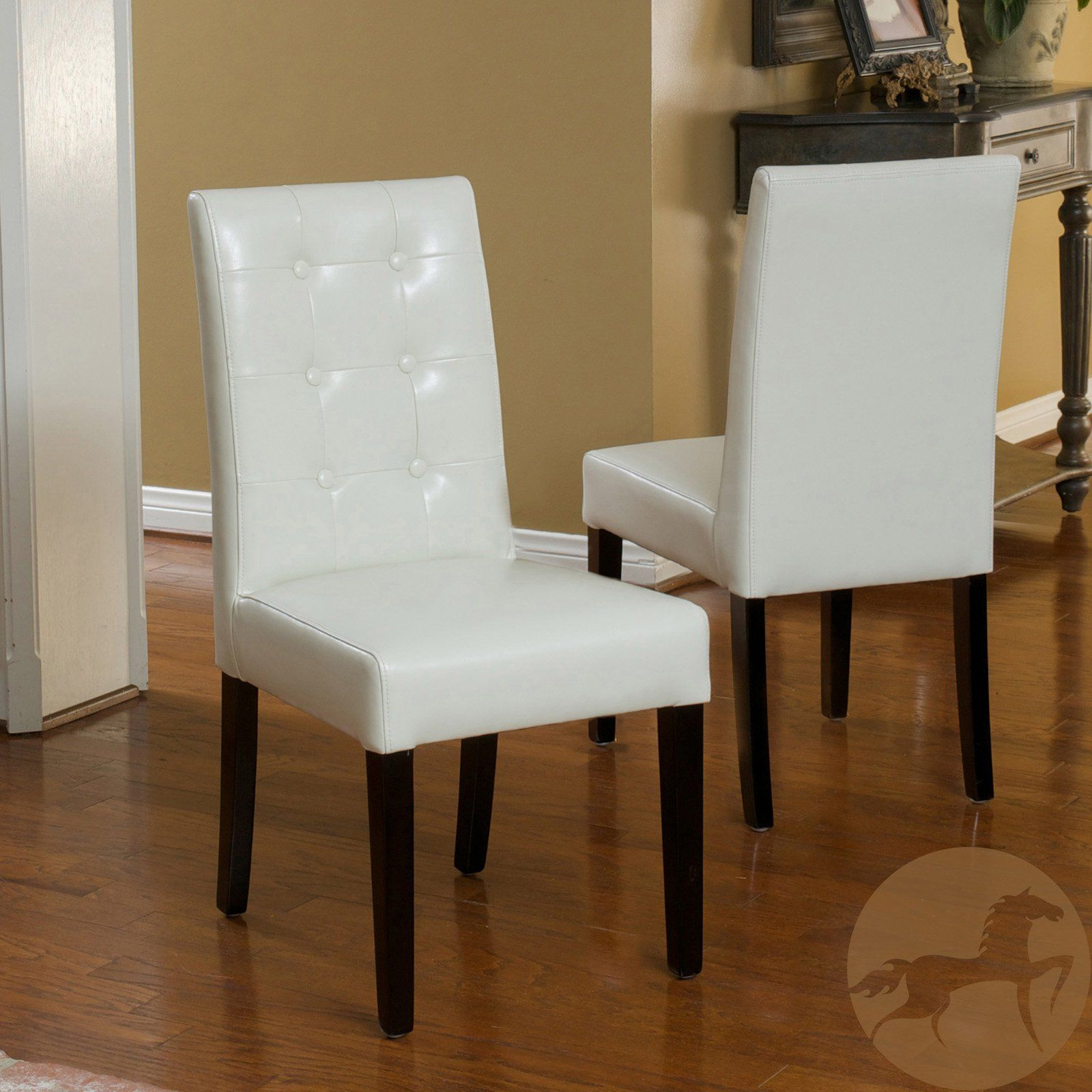Roland Leather Dining Chairs Set Of 2 Bright Red Leather