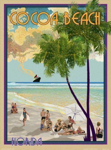Cocoa Beach Fl Vintage Art Deco Style Travel Poster By Aurelio Grisanty Vintage Beach Posters Florida Art Florida Art Deco
